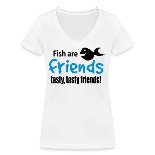 Fisk er venner - Økologisk T-skjorte med V-hals for kvinner fra Stanley & Stella