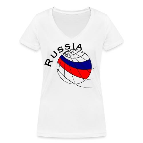 Russland Fußballmotiv - Camiseta ecológica mujer con cuello de pico de Stanley & Stella