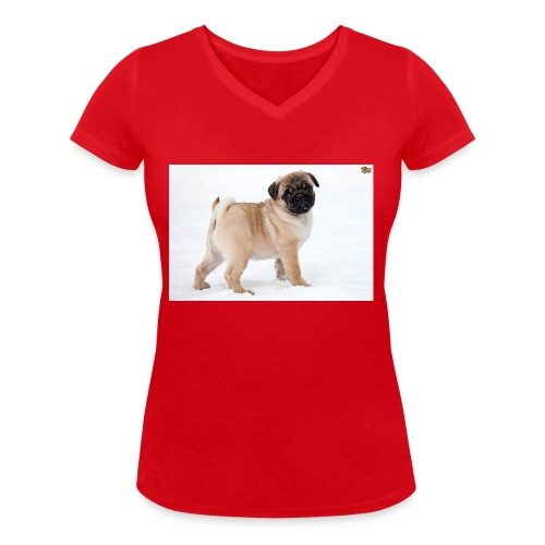 walker family pug merch - Women's Organic V-Neck T-Shirt by Stanley & Stella