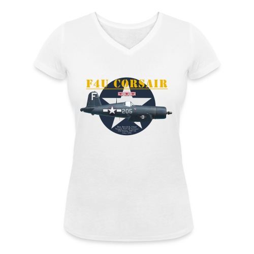 F4U Jeter VBF-83 - Women's Organic V-Neck T-Shirt by Stanley & Stella