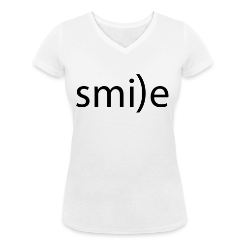 smile Emoticon lächeln lachen Optimist positiv yes - Women's Organic V-Neck T-Shirt by Stanley & Stella