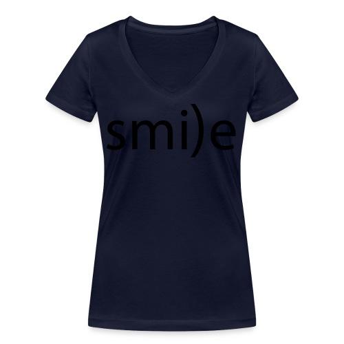 smile Emoticon lächeln lachen Optimist positiv yes - Women's Organic V-Neck T-Shirt by Stanley & Stella