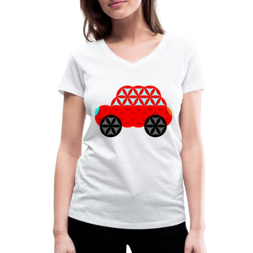 The Car Of Life - M01, Sacred Shapes, Red/R01. - Women's Organic V-Neck T-Shirt by Stanley & Stella