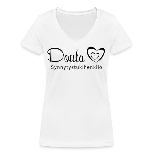 doula sydämet synnytystukihenkilö - Stanley & Stellan naisten v-aukkoinen luomu-T-paita