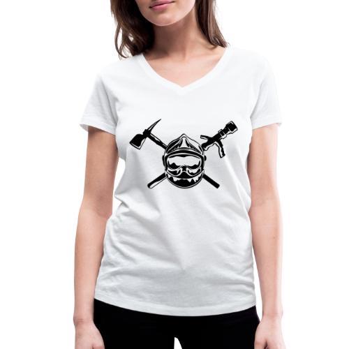 casque_pompier_hache et lance - T-shirt bio col V Stanley & Stella Femme