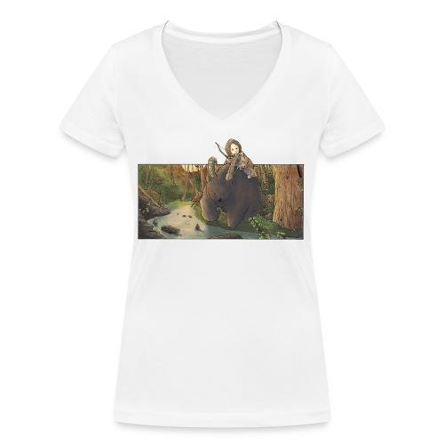 Orso e bambina - Wandering Claw - T-shirt ecologica da donna con scollo a V di Stanley & Stella
