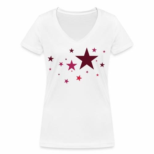 Sterne dreifarbig Vektor - Frauen Bio-T-Shirt mit V-Ausschnitt von Stanley & Stella