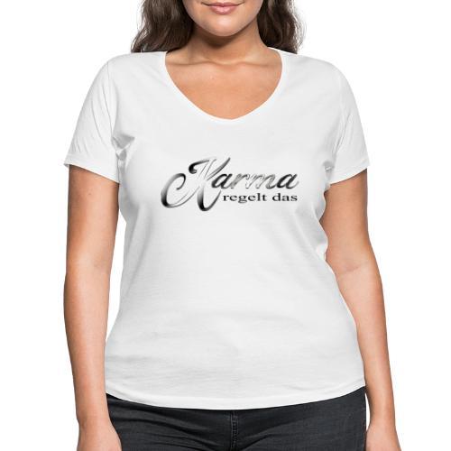Karma regelt das silber - Frauen Bio-T-Shirt mit V-Ausschnitt von Stanley & Stella