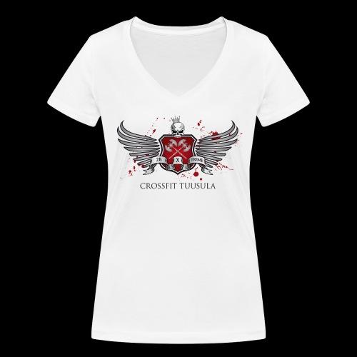 CrossFit Tuusula - Stanley & Stellan naisten v-aukkoinen luomu-T-paita
