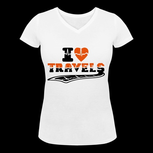i love travels surprises 2 col - Women's Organic V-Neck T-Shirt by Stanley & Stella
