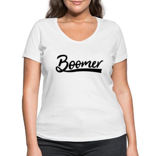 Boomer with 1 editable text color - Stanley & Stellan naisten v-aukkoinen luomu-T-paita