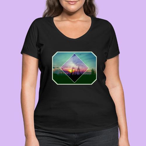 Tramonto in risalto tra figure geometriche - T-shirt ecologica da donna con scollo a V di Stanley & Stella