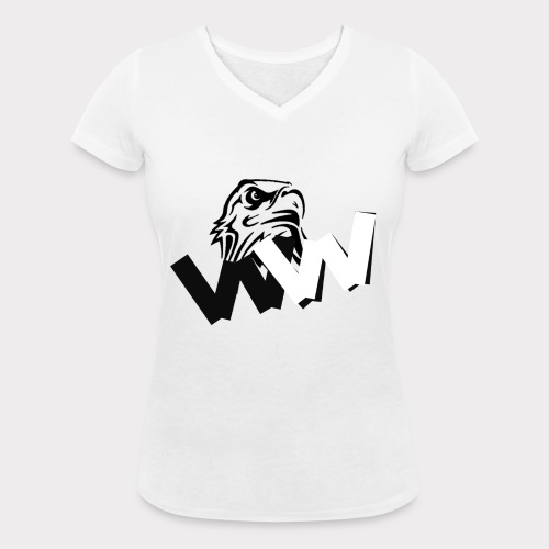 White and Black W with eagle - Women's Organic V-Neck T-Shirt by Stanley & Stella