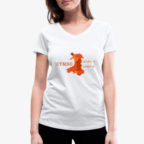 Cymru - Latitude / Longitude - Women's Organic V-Neck T-Shirt by Stanley & Stella