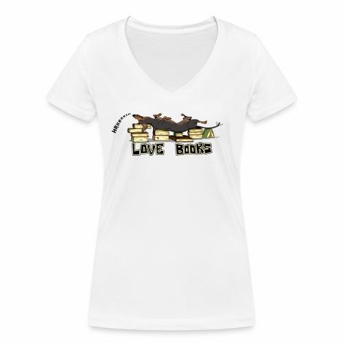 Love books - Ekologiczna koszulka damska z dekoltem w serek Stanley & Stella