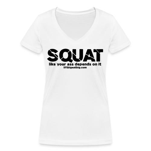 squat - Women's Organic V-Neck T-Shirt by Stanley & Stella
