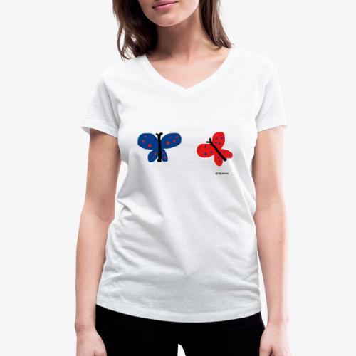 Perhoset - Stanley & Stellan naisten v-aukkoinen luomu-T-paita