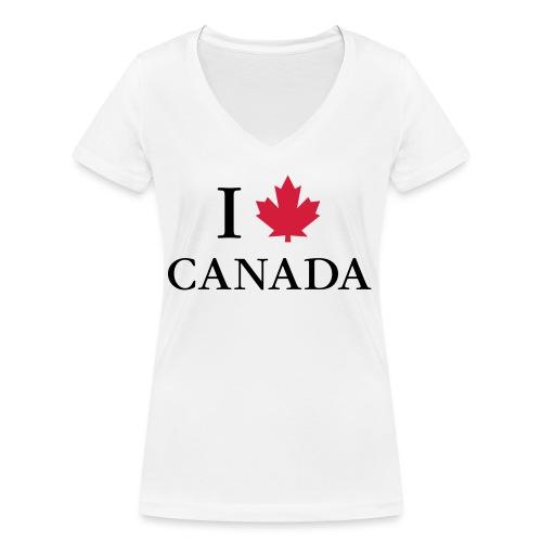 I love Canada Ahornblatt Kanada Vancouver Ottawa - Frauen Bio-T-Shirt mit V-Ausschnitt von Stanley & Stella