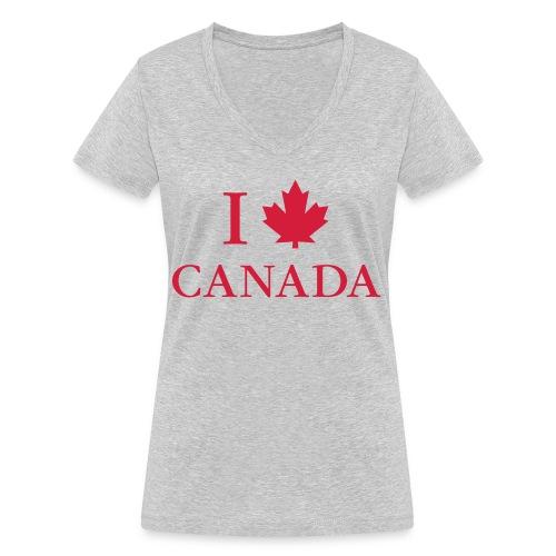 I love Canada Ahornblatt Kanada Vancouver Ottawa - Women's Organic V-Neck T-Shirt by Stanley & Stella