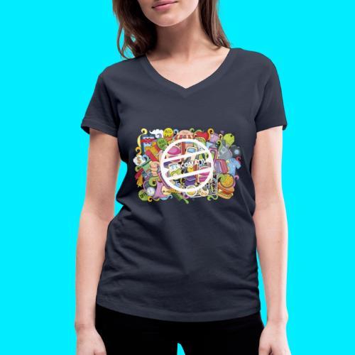 maglia logo doodle - T-shirt ecologica da donna con scollo a V di Stanley & Stella