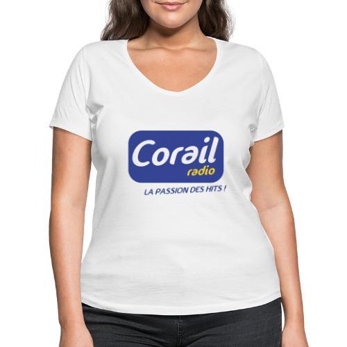 Logo bleu - T-shirt bio col V Stanley & Stella Femme