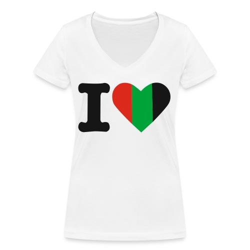 hartjeroodzwartgroen - Vrouwen bio T-shirt met V-hals van Stanley & Stella