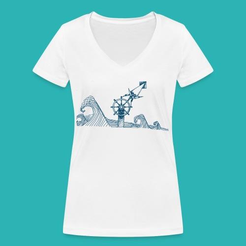 Carta_timone_blu-png - T-shirt ecologica da donna con scollo a V di Stanley & Stella