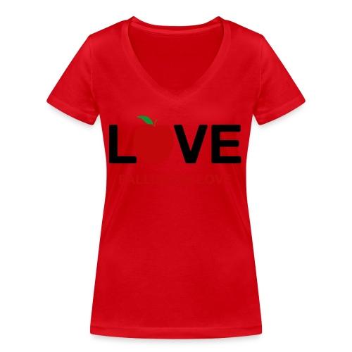 Falling in Love - Black - Women's Organic V-Neck T-Shirt by Stanley & Stella