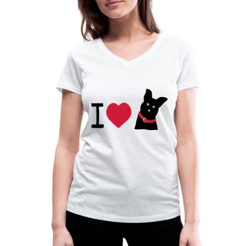 I love Dogs - Frauen Bio-T-Shirt mit V-Ausschnitt von Stanley & Stella