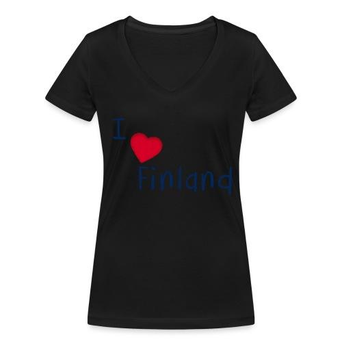 I Love Finland - Women's Organic V-Neck T-Shirt by Stanley & Stella