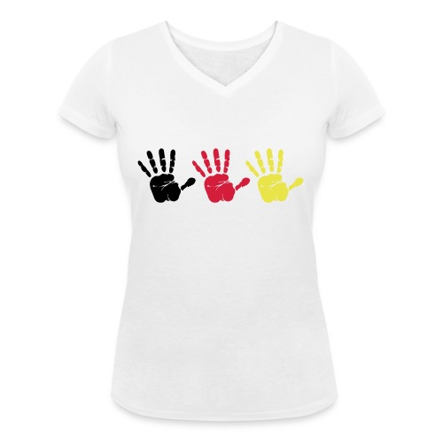 Handabdruck Trio - Frauen Bio-T-Shirt mit V-Ausschnitt von Stanley & Stella