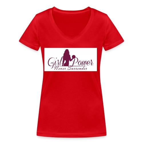 GIRL POWER NEVER SURRENDER - Camiseta ecológica mujer con cuello de pico de Stanley & Stella