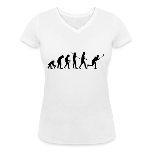 Floorball Evolution Black - Frauen Bio-T-Shirt mit V-Ausschnitt von Stanley & Stella