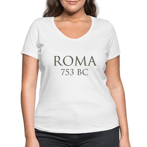 Nadruk Roma (Rzym)   Print Roma (Rome) - Ekologiczna koszulka damska z dekoltem w serek Stanley & Stella