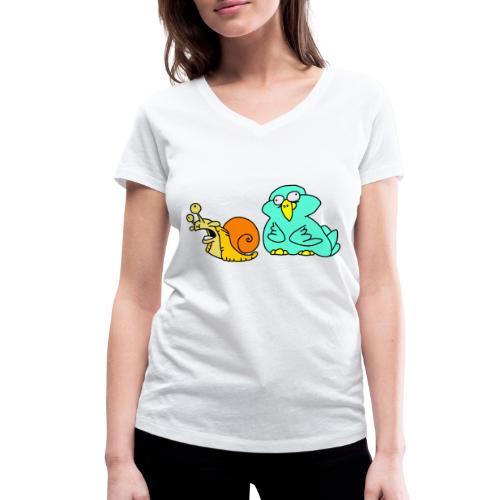 Schnecke und Vogel Nr 3 von dodocomics - Frauen Bio-T-Shirt mit V-Ausschnitt von Stanley & Stella