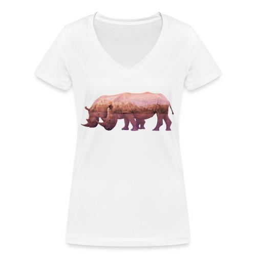 Nashorn Alpen - Frauen Bio-T-Shirt mit V-Ausschnitt von Stanley & Stella