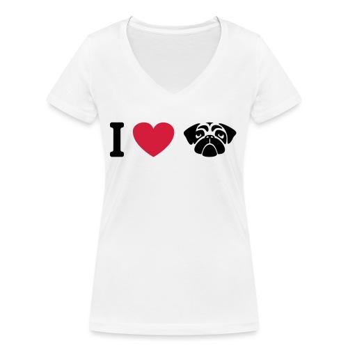 I love mops - Frauen Bio-T-Shirt mit V-Ausschnitt von Stanley & Stella