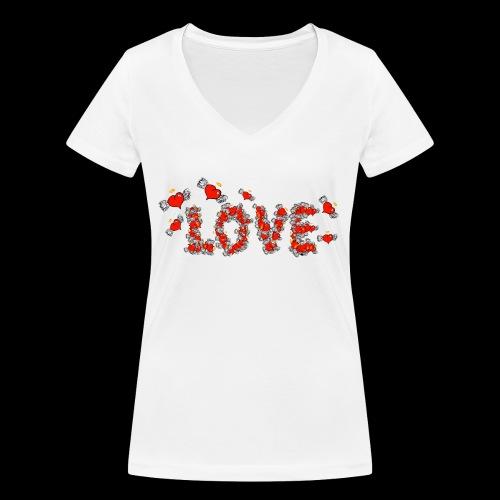 Flying Hearts LOVE - Women's Organic V-Neck T-Shirt by Stanley & Stella