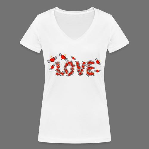 Flying Hearts LOVE - Stanley & Stellan naisten v-aukkoinen luomu-T-paita