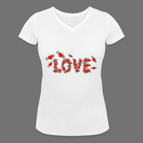 Flying Hearts LOVE - Women's Organic V-Neck T-Shirt by Stanley & Stella