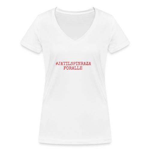 #jatilspinrazaforalle - rød - Økologisk T-skjorte med V-hals for kvinner fra Stanley & Stella