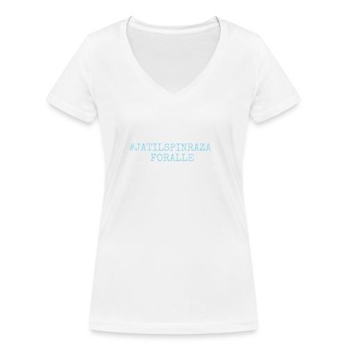 #jatilspinrazaforalle - lysblå - Økologisk T-skjorte med V-hals for kvinner fra Stanley & Stella