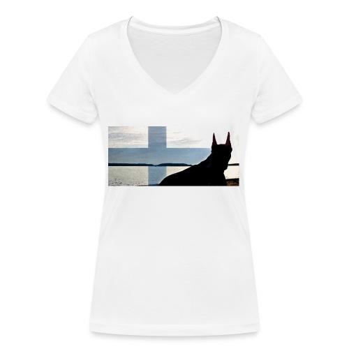 HUPPARITAUSTA2016 copy - Stanley & Stellan naisten v-aukkoinen luomu-T-paita