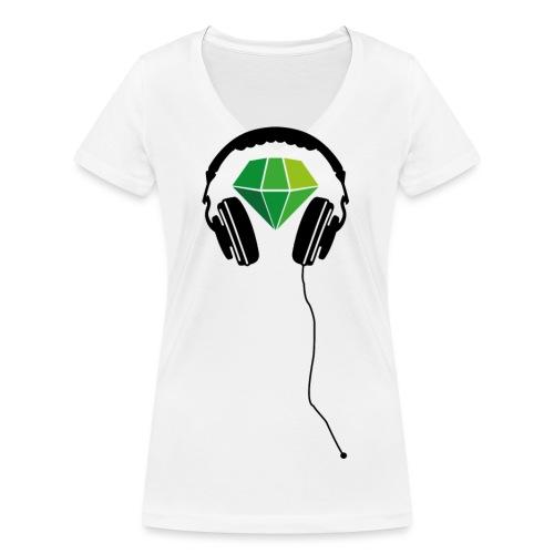 Gruenschwarz Kopfhörer png - Frauen Bio-T-Shirt mit V-Ausschnitt von Stanley & Stella
