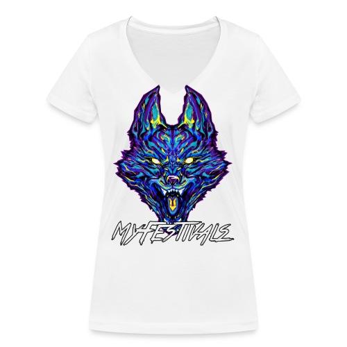MyFestivals Blue Wolf - Frauen Bio-T-Shirt mit V-Ausschnitt von Stanley & Stella