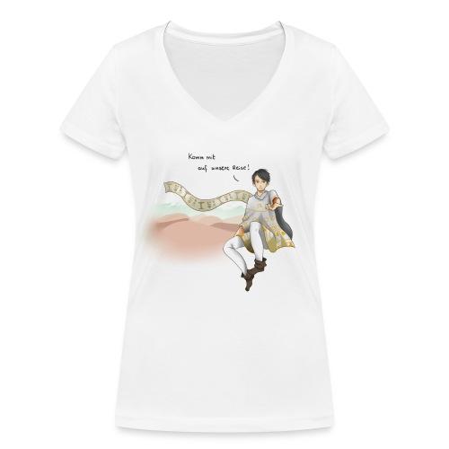 20141223 Design1 Komm mit auf unsere Reise schwar - Frauen Bio-T-Shirt mit V-Ausschnitt von Stanley & Stella