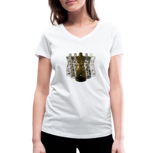 Lady Rosso Corsa and Her Dancers (gold) - Økologisk Stanley & Stella T-shirt med V-udskæring til damer