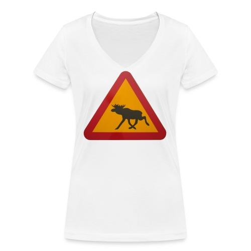 Warnschild Elch - Frauen Bio-T-Shirt mit V-Ausschnitt von Stanley & Stella