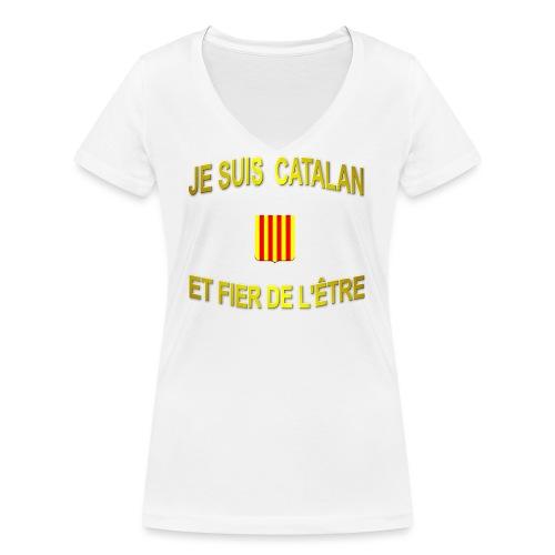 Tee-Shirt supporter du pays CATALAN - T-shirt bio col V Stanley & Stella Femme
