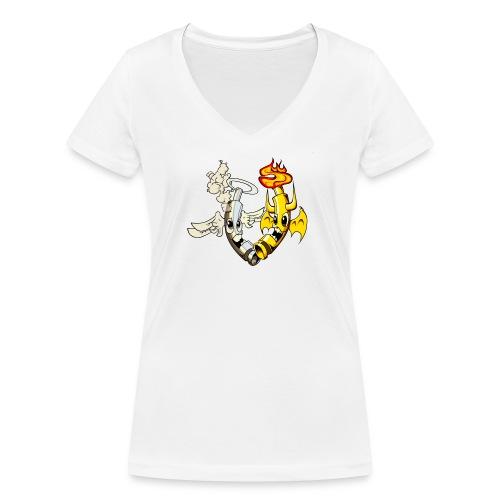 engel_teufel_color_ohne_s - Frauen Bio-T-Shirt mit V-Ausschnitt von Stanley & Stella